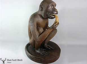 black forest carved Lifesize monkey
