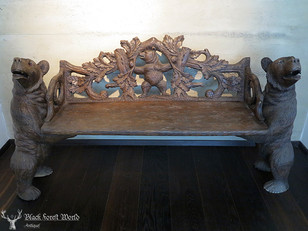 XXL carved black forest bear bench