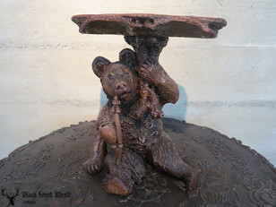 black forest carved bear with pipe