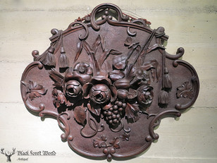 Black forest carved wood Plaque