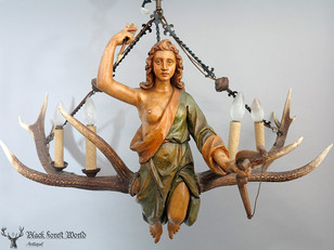 carved wooden Chandelier bowhunt