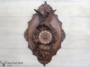 Black forest carved clock eagle
