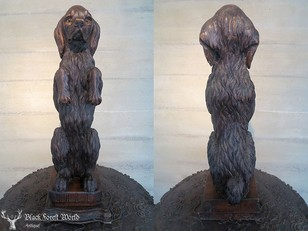 Black forest carved wood dog