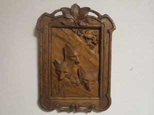 Black forest carved fox plaque