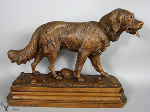 hancarved signed swiss hound