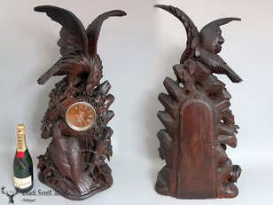 Black forest carved  clock eagles