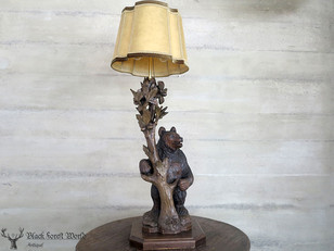 swiss carved black forest bear lamp